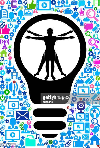 vitruvian man human anatomy technology web vector background pattern - icon collage stock illustrations