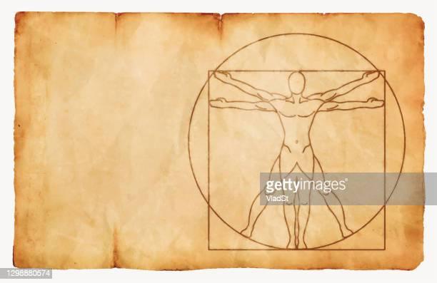 vitruvian mann tinte auf papier vintage hintergrund - geometriestunde stock-grafiken, -clipart, -cartoons und -symbole