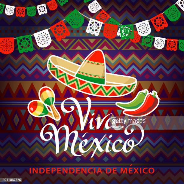 viva mexico independence celebration - sombrero stock illustrations