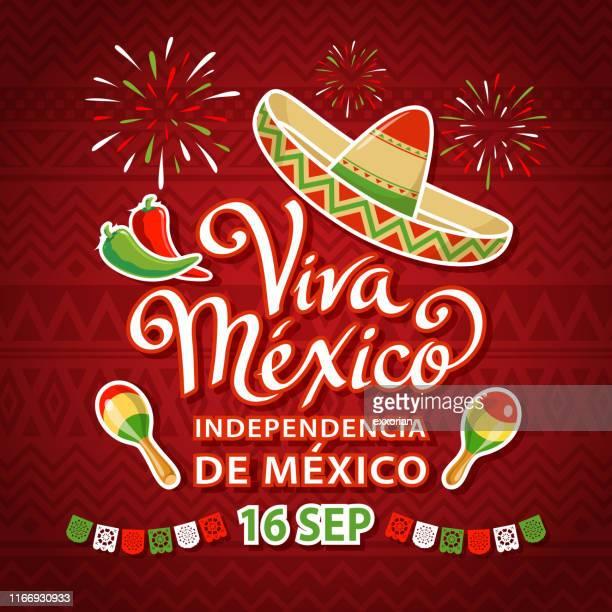viva mexico independence celebration - mexico stock illustrations