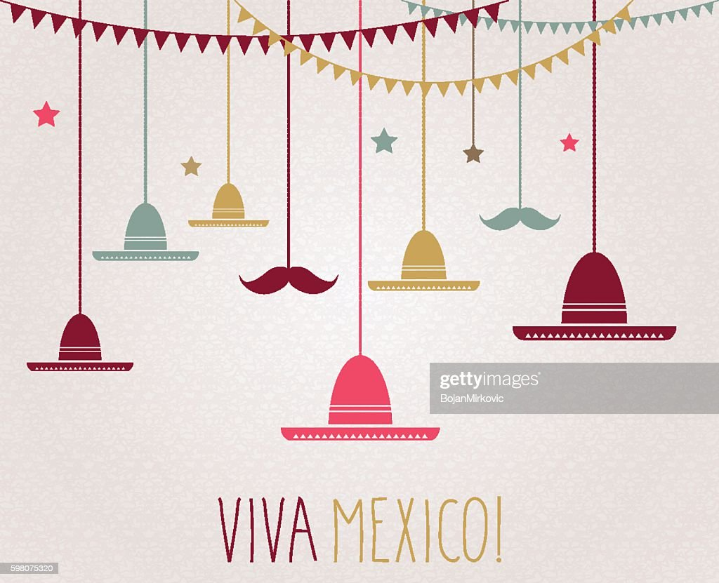 Viva Mexico. Independence Day. Hanging colorful sombrero and mustache