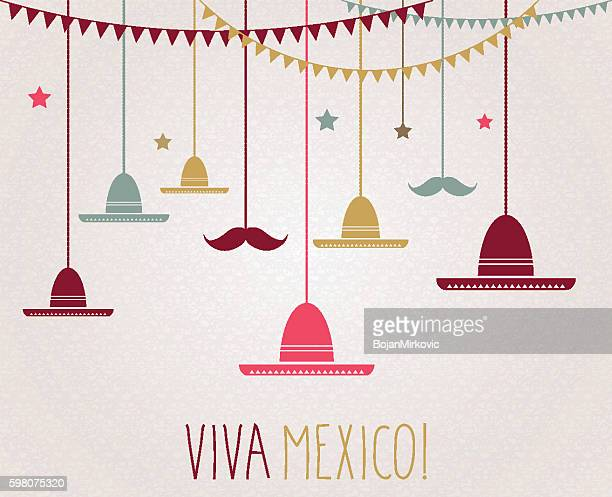 viva mexico. independence day. hanging colorful sombrero and mustache - sombrero stock illustrations