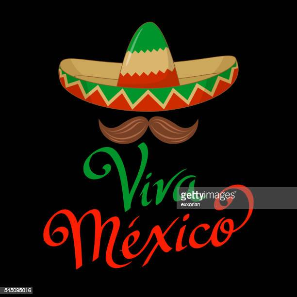 viva mexico sombrero symbol - sombrero stock illustrations