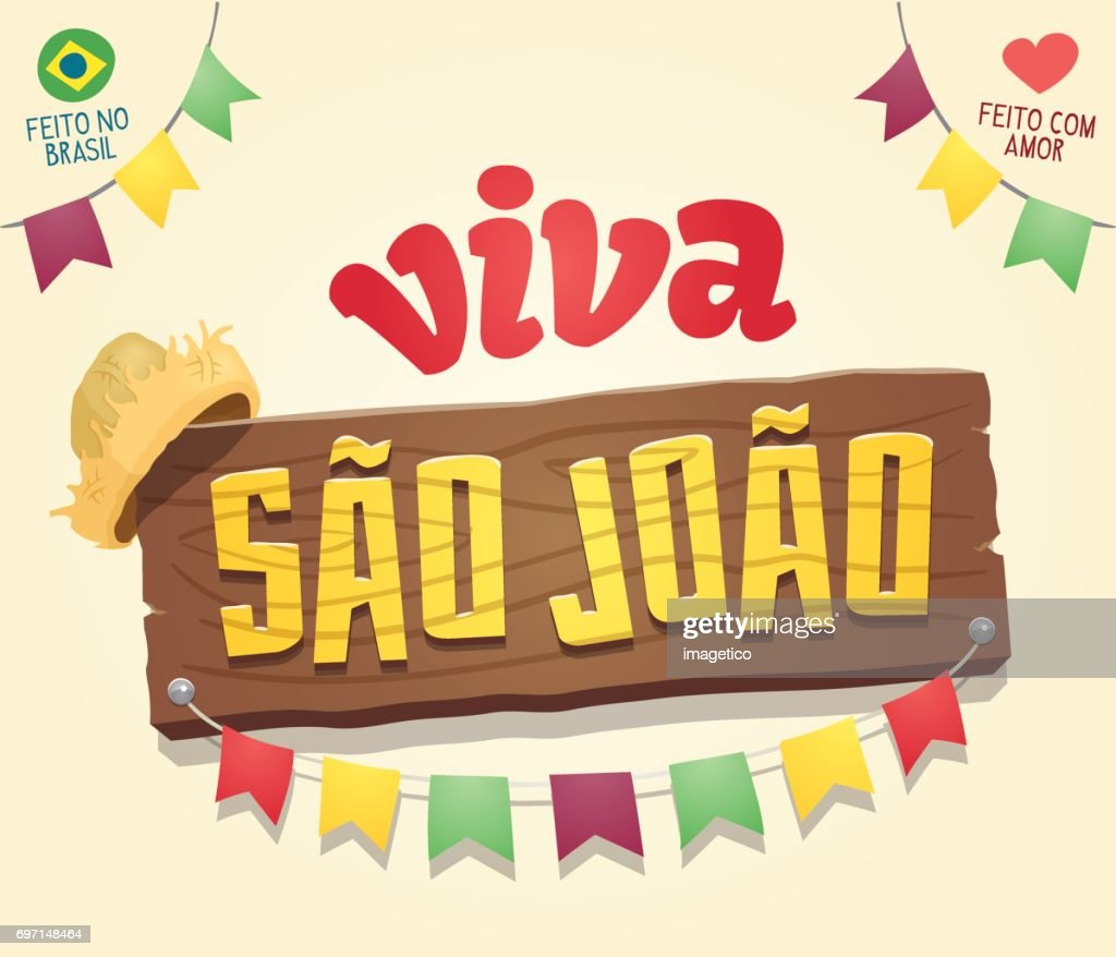 Viva Sao Joao (Hail Saint John) - Brazilian June Party Cool thematic wooden sign logo
