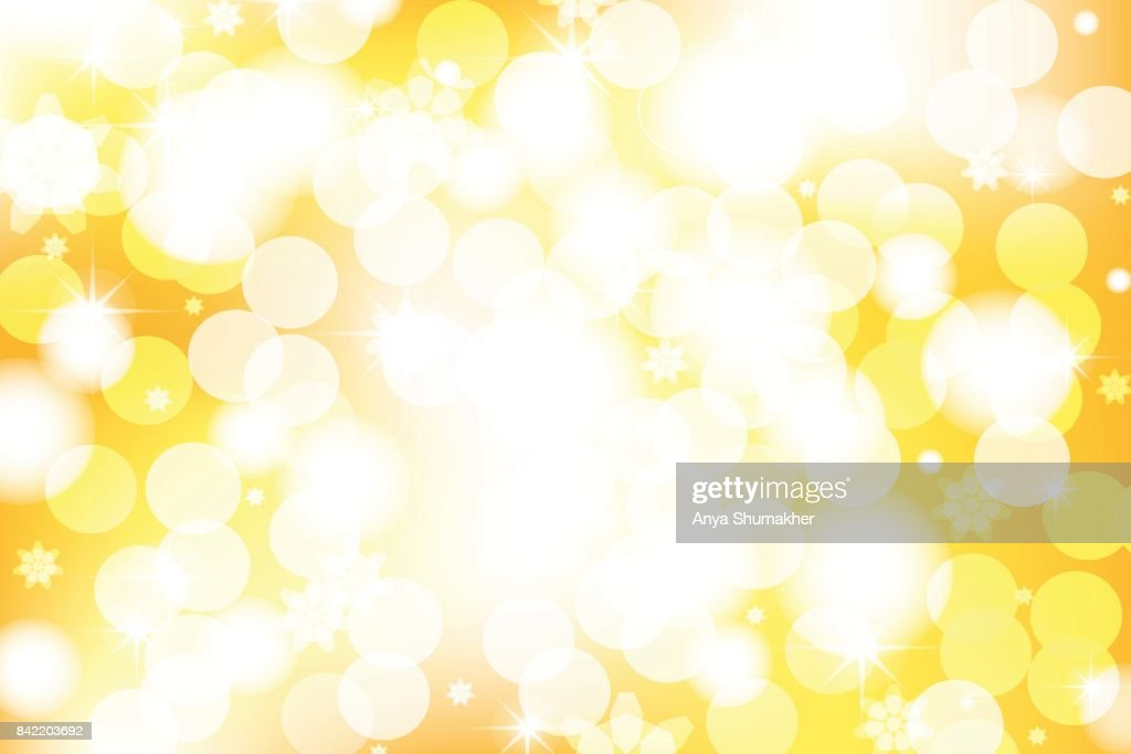 Vivid bokeh in golden color. Background with highlights. vector illustration