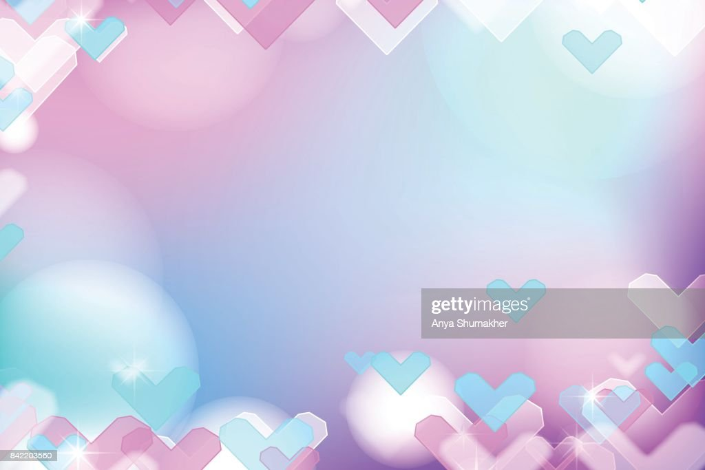 Vivid bokeh with hearts in soft color. Background with highlights. vector illustration