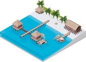 Vivid illustration of an isometric tropical resort