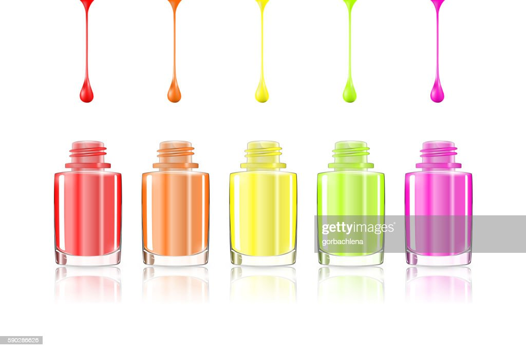Vivid Rainbow nail polish bottles. Multicolored drips isolated.
