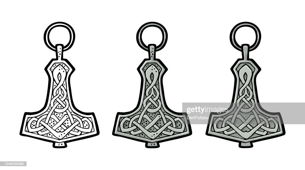 Vking hammer thor amulet with runes. Vintage vector color engraving