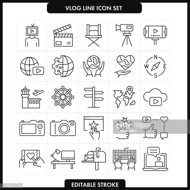 vlog ライン アイコン セット.編集可能ストローク - 通知アイコン点のイラスト素材/クリップアート素材/マンガ素材/アイコン素材