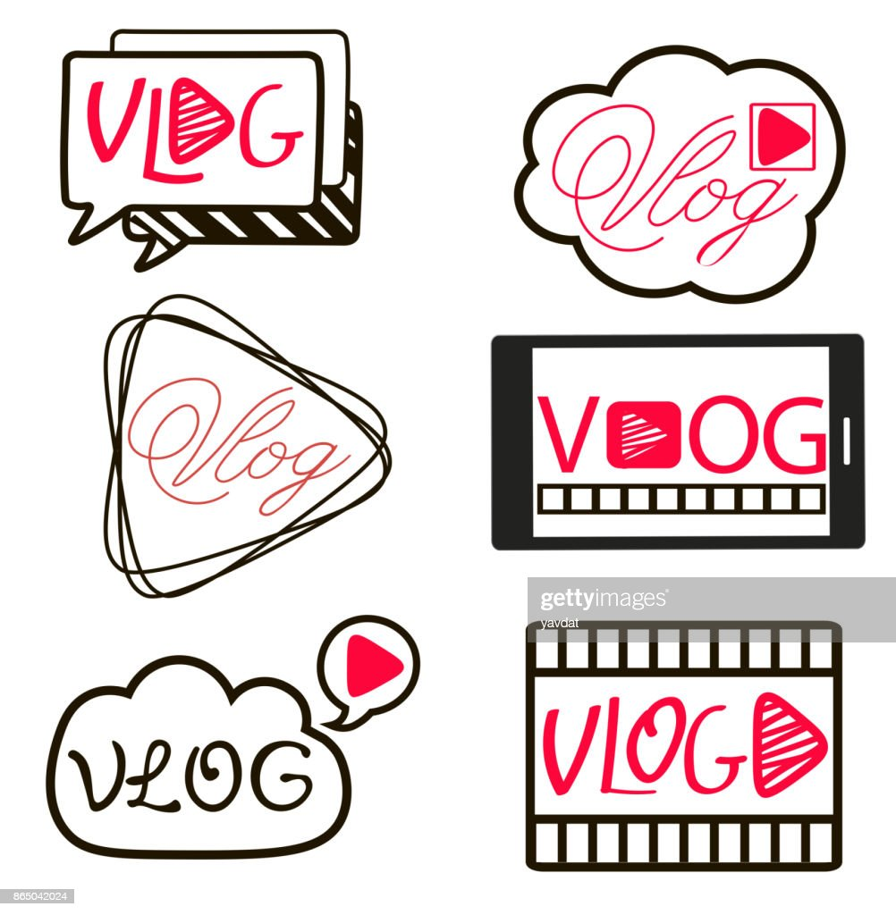 Vlog or video blogging video channel buttons set. Vector illustration.