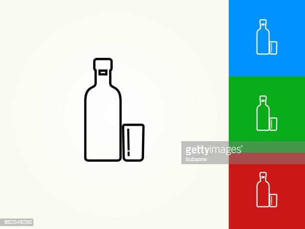 vodka shot black stroke linear icon - vodka drink stock illustrations, clip art, cartoons, & icons