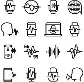 Voice and speech recognition, cellular network vector icons. Mic command and hearing symbols