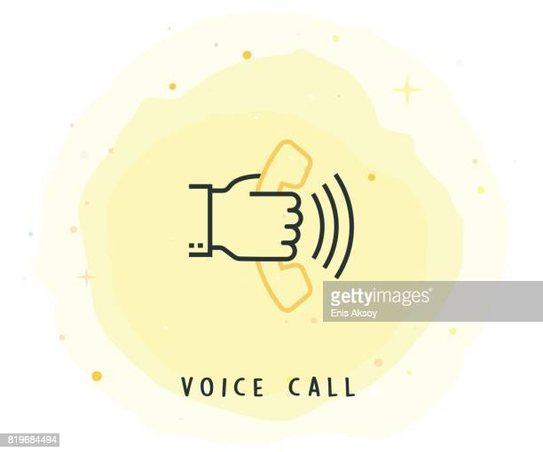 Voice Call Icon with Watercolor Patch