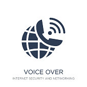 voice over internet protocol icon. Trendy flat vector voice over internet protocol icon on white background from Internet Security and Networking collection