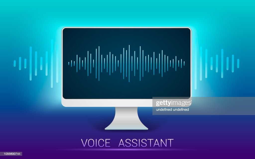 Voice recognition. Personal assistant and voice recognition. Voice search, search technology. Audio identification technology. Vector illustration.
