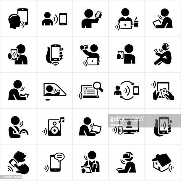 stockillustraties, clipart, cartoons en iconen met pictogrammen van de technologie van de erkenning van de stem - eén persoon