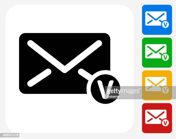 voicemail envelope icon flat graphic design - answering machine stock illustrations, clip art, cartoons, & icons