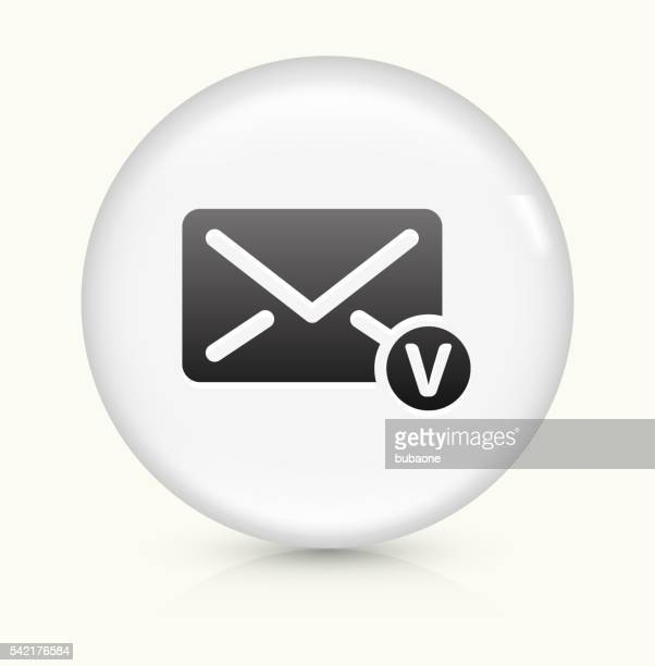 voicemail envelope icon on white round vector button - answering machine stock illustrations, clip art, cartoons, & icons