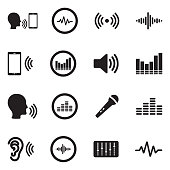 Voiceover Icons. Black Flat Design. Vector Illustration.