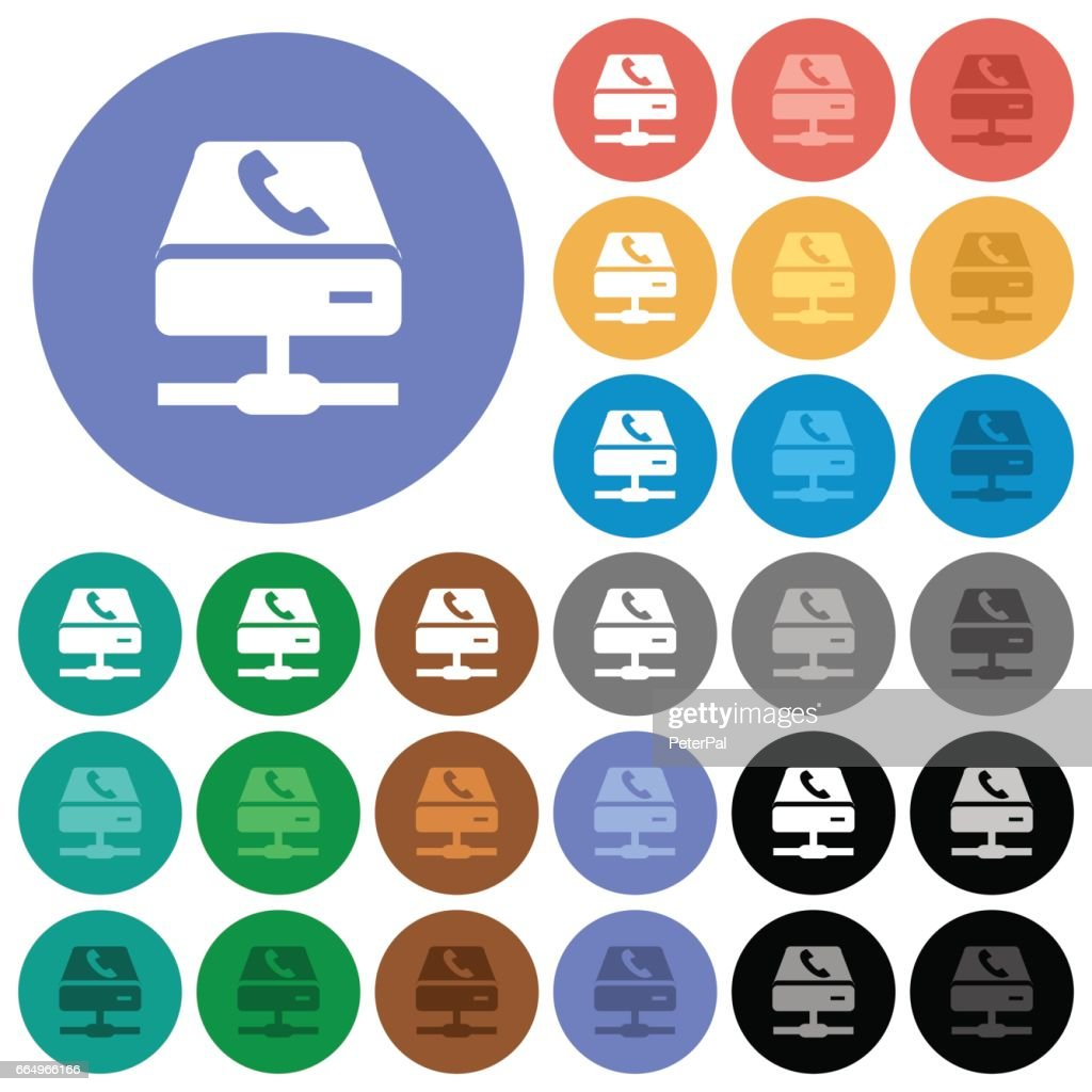 VoIP services round flat multi colored icons