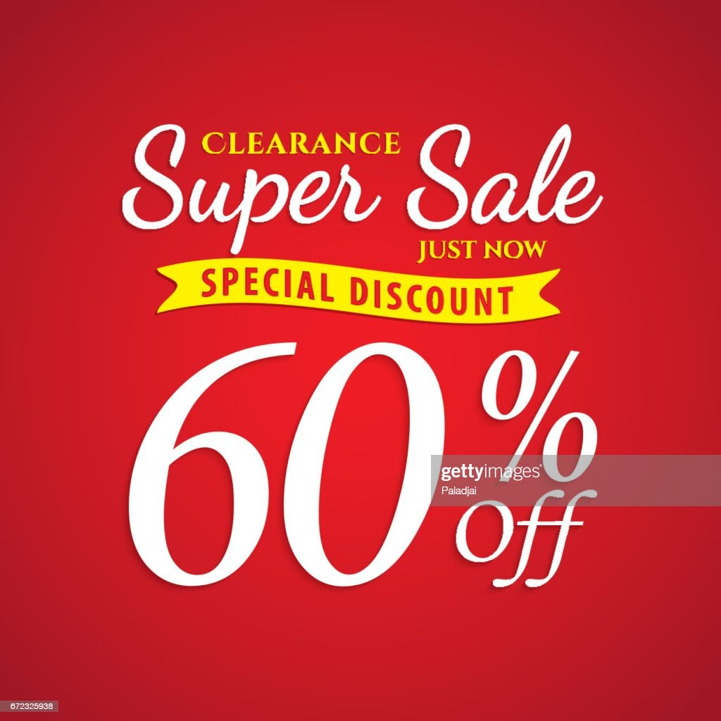 Vol. 1 Super Sale red 60 percent heading design for banner or poster. Sale and Discounts Concept. Vector illustration.