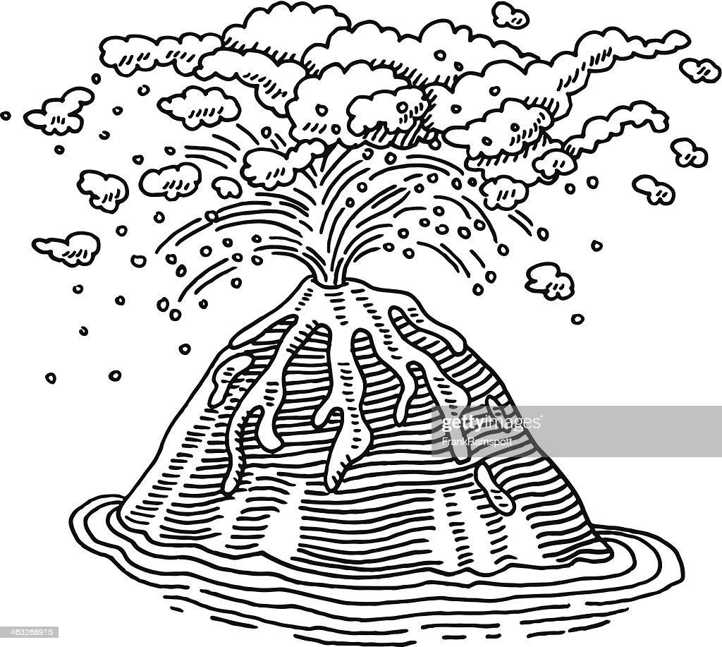 Vulkanausbruch Zeichnung : Stock-Illustration