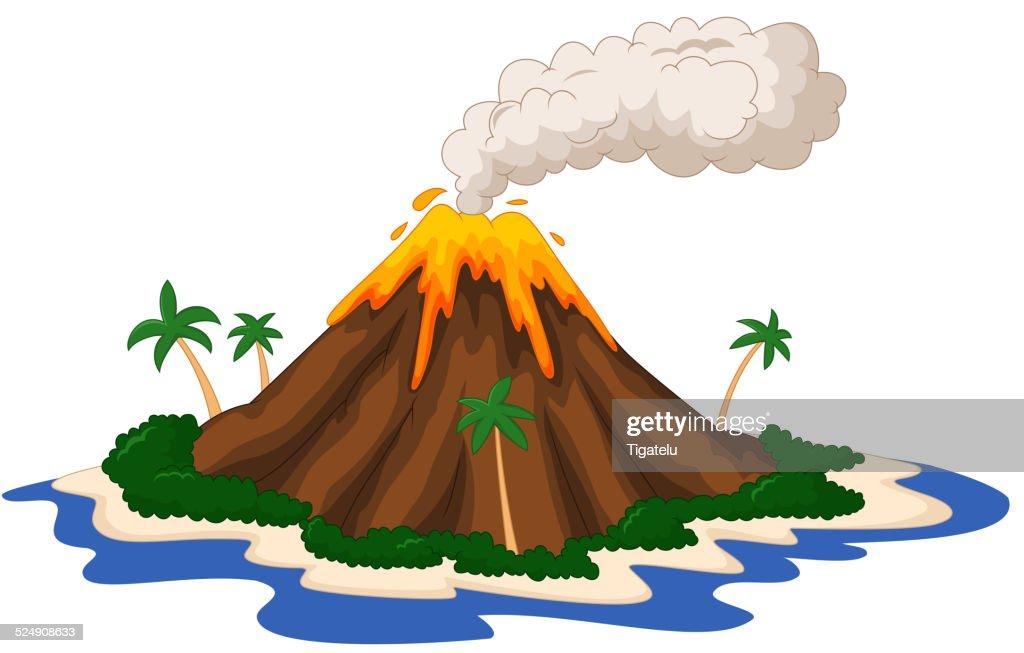 Volcanic island cartoon