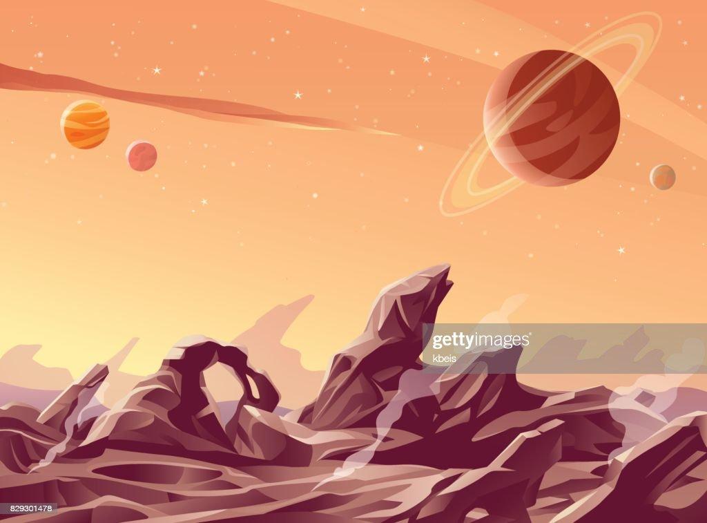 Vulkanische Planet : Stock-Illustration