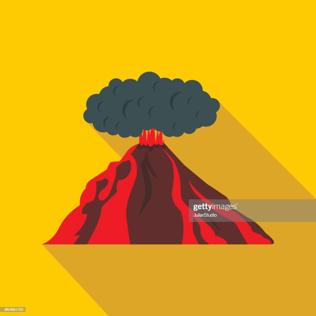 Volcano erupting icon, flat style