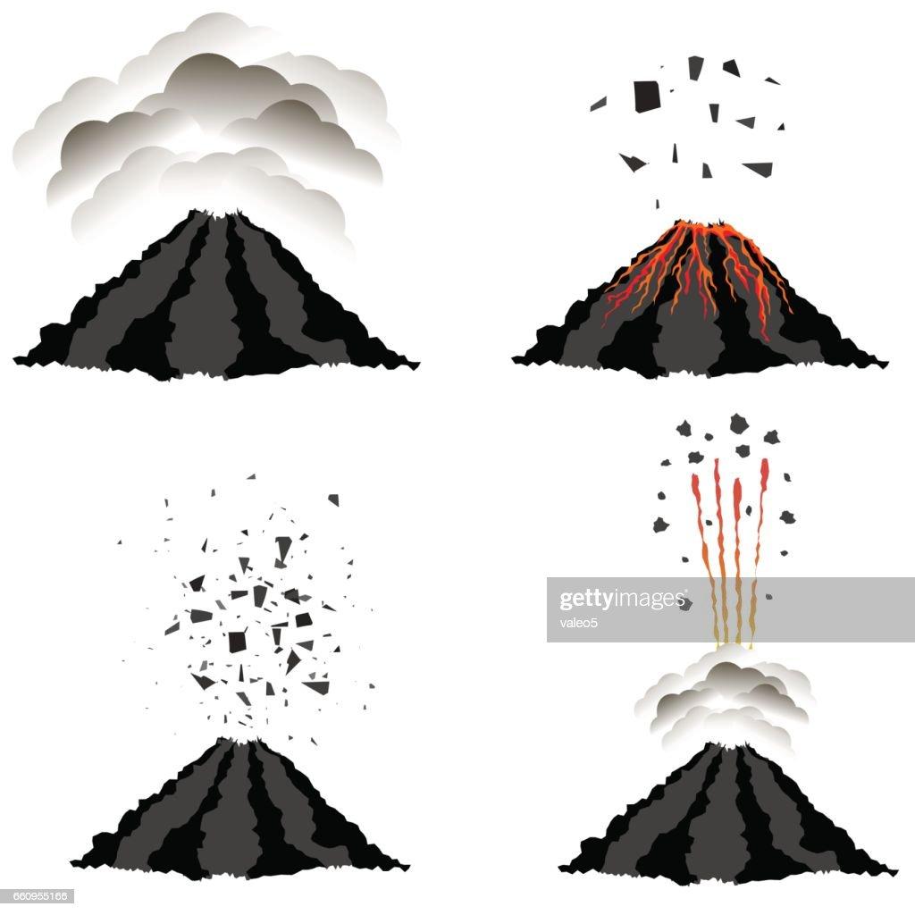 Volcano Erupting . Peak of Mountain. Fiery Crater
