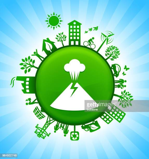 volcano eruption environment green button background on blue sky - green car crash stock illustrations