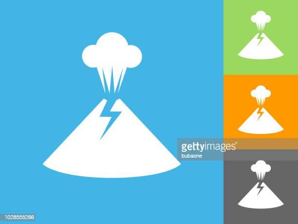 Vulkanausbruch flache Symbol auf blauem Hintergrund