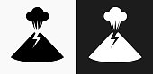 Volcano Eruption Icon on Black and White Vector Backgrounds
