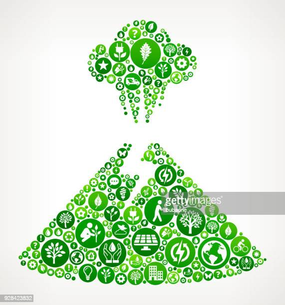 Volcano Eruption  Nature and Environmental Conservation Icon Pattern