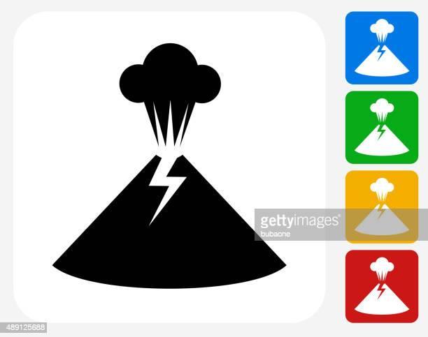 volcano icon flat graphic design - volcano stock illustrations, clip art, cartoons, & icons
