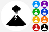 Volcano Icon on Flat Color Circle Buttons