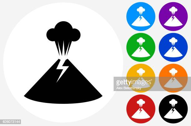 volcano icon on flat color circle buttons - volcano stock illustrations, clip art, cartoons, & icons