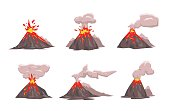 Volcano Icon Set. Flat vector illustration. Isolated on white background.