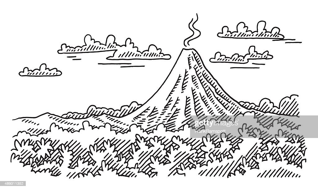 Line Drawing Volcano : Volcano landscape drawing vector art getty images