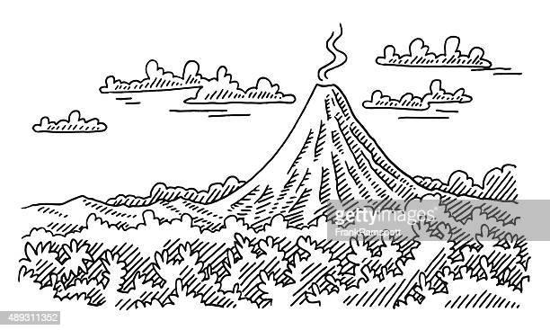 volcano landscape drawing - volcano stock illustrations, clip art, cartoons, & icons