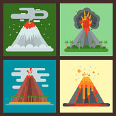 Volcano magma vector nature blowing up with smoke crater volcanic mountain hot natural eruption earthquake illustration