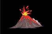 Volcano mountain exploding. Flat vector illustration. Isolated on black background.