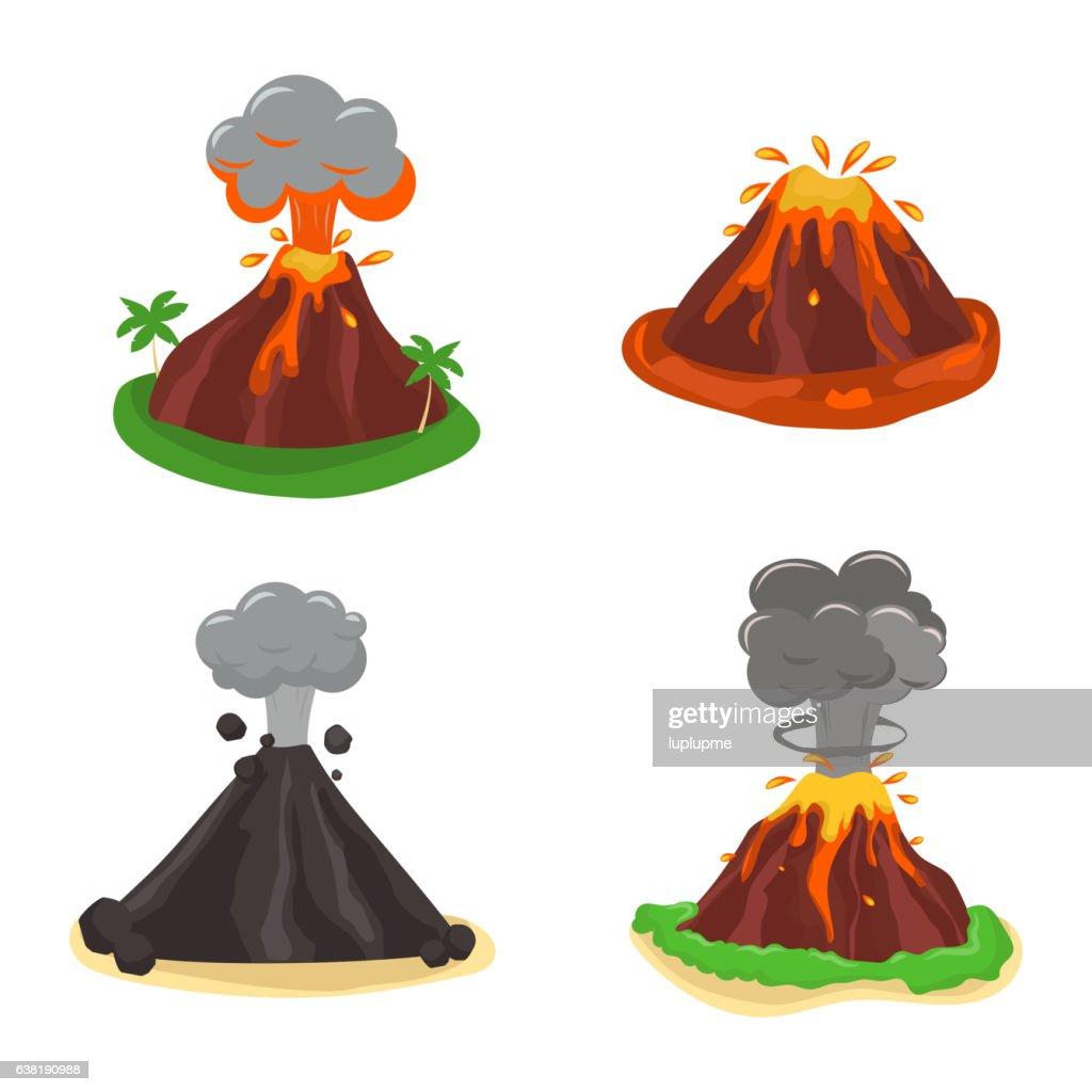 Volcano set vector illustration.