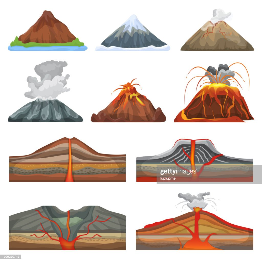 Volcano vector eruption and volcanism or explosion convulsion of nature volcanic in mountains illustration set of volcanology isolated on white background