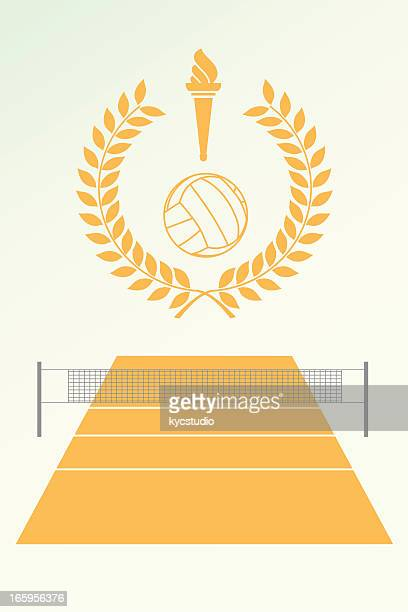 volley poster and emblem - sport torch stock illustrations, clip art, cartoons, & icons