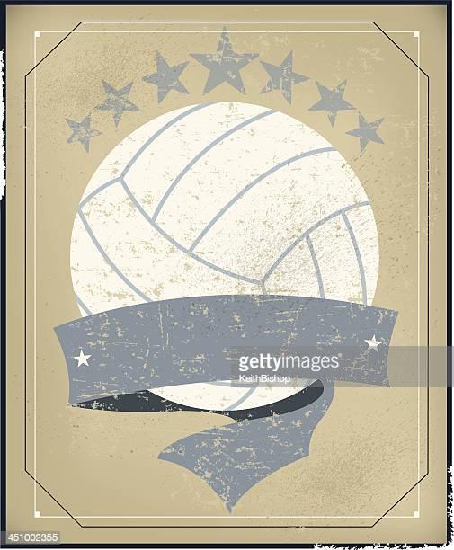 illustrazioni stock, clip art, cartoni animati e icone di tendenza di pallavolo all-star sfondo con banner-retro - pallone da pallavolo