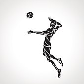 Volleyball attacker player silhouette