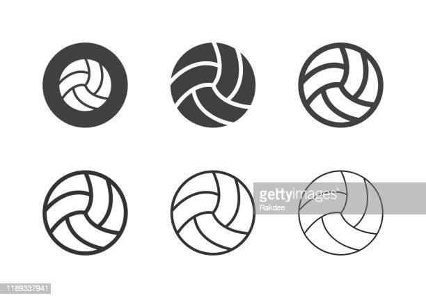 illustrazioni stock, clip art, cartoni animati e icone di tendenza di icone della palla da pallavolo - serie multi - pallone da pallavolo