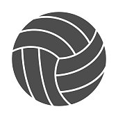 Volleyball ball solid icon. Sports equipment vector illustration isolated on white. Game ball glyph style design, designed for web and app. Eps 10.